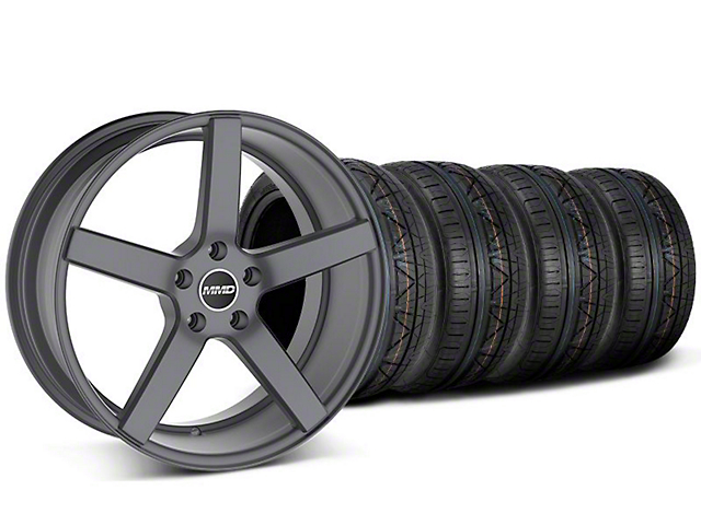 MMD Staggered 551C Charcoal Wheel & NITTO INVO Tire Kit - 19x8.5/10 (05-14 All)
