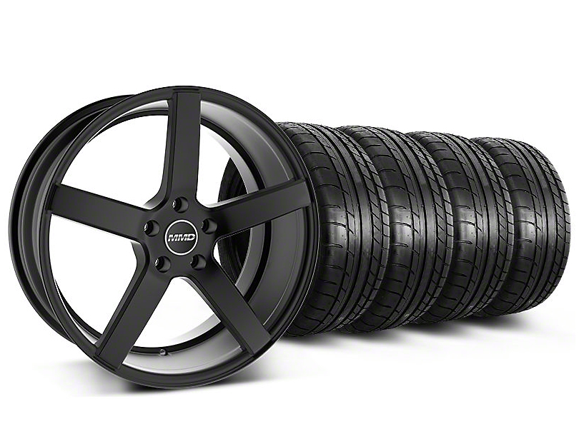 Staggered MMD 551C Black Wheel & Mickey Thompson Tire Kit - 19x8.5/10 (05-14 All)