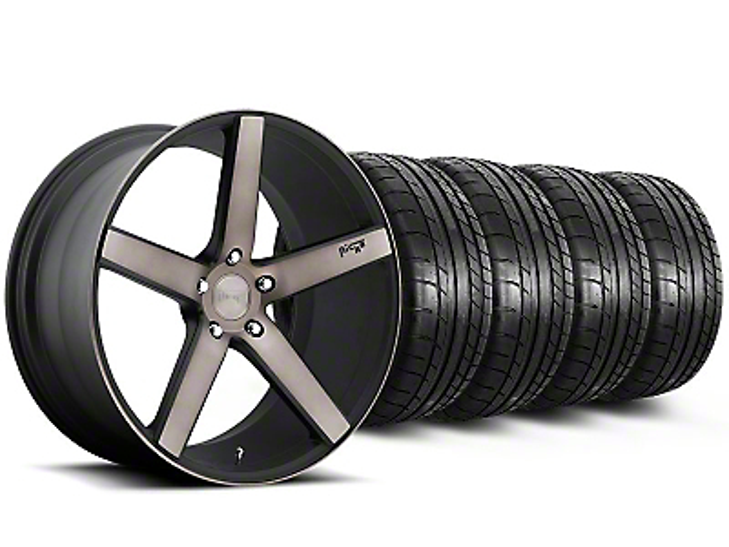 Niche Staggered Milan Matte Black Machined Wheel & Mickey Thompson Tire Kit - 20x8.5/10 (05-14 All)