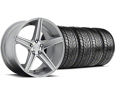 Staggered Niche Apex Machined Silver Wheel & NITTO Tire Kit - 20x8.5/10 (05-14 All)