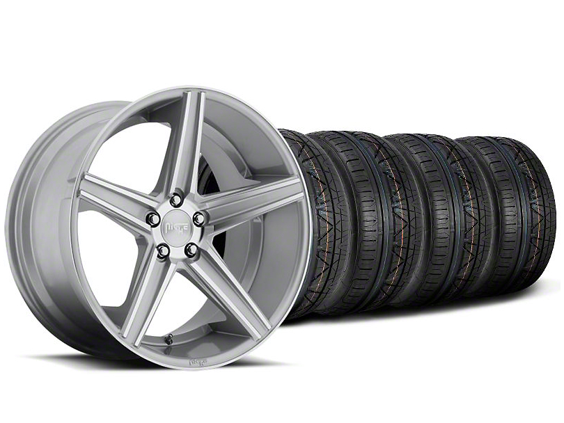 Niche Staggered Apex Machined Silver Wheel & NITTO INVO Tire Kit - 20x8.5/10 (05-14 All)