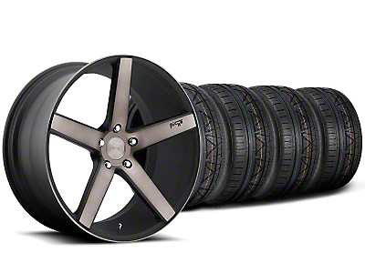 Niche Staggered Milan Matte Black Machined Wheel & NITTO INVO Tire Kit - 20x8.5/10 (05-14 All)