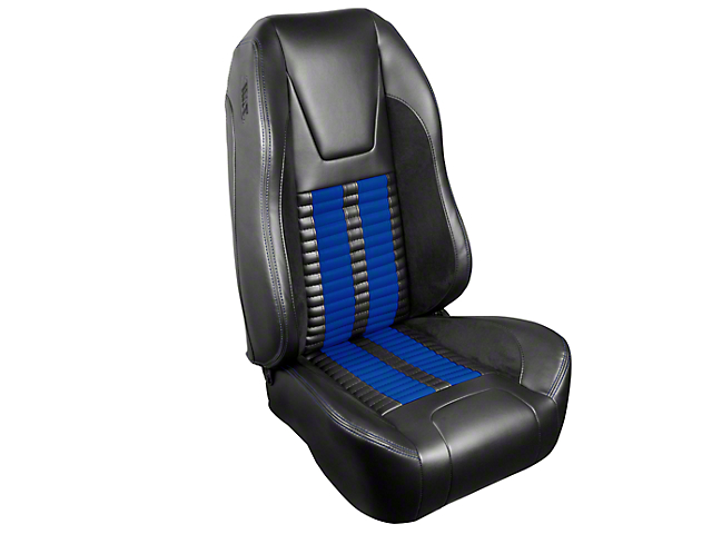 TMI Premium Sport R500 Upholstery & Foam Kit - Black Vinyl & Blue Stripe/Stitch (99-04 All)