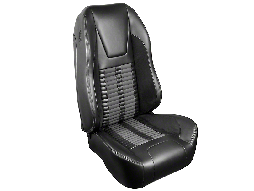 TMI Premium Sport R500 Upholstery & Foam Kit - Black Vinyl & Gray Stripe/Stitch (99-04 All)