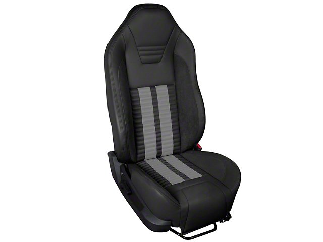 TMI Premium Sport R500 Upholstery & Foam Kit - Black Vinyl & Gray Stripe/Stitch (05-07 All)