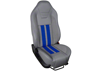 TMI Premium Sport R500 Upholstery & Foam Kit - Gray Vinyl & Blue Stripe/Stitch (05-07 All)