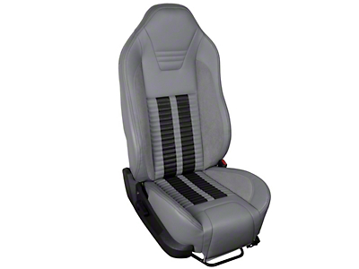 TMI Premium Sport R500 Upholstery & Foam Kit - Gray Vinyl & Black Stripe/Stitch (05-07 All)