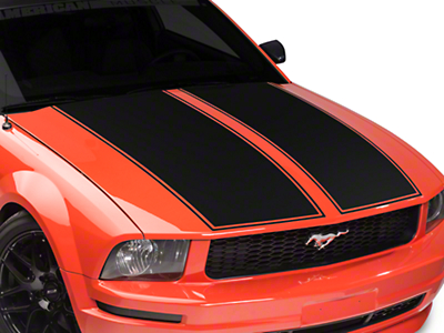 American Muscle Graphics Dual Hood Stripe - Matte Black (05-09 All)