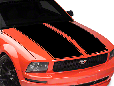 American Muscle Graphics Dual Hood Stripe - Black (05-09 All)