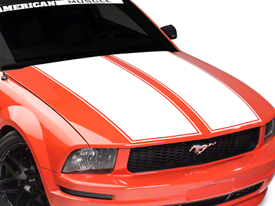 American Muscle Graphics Dual Hood Stripe - White (05-09 All)