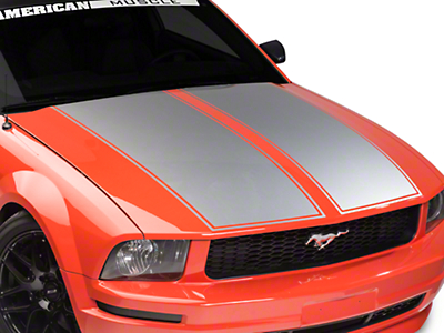 American Muscle Graphics Dual Hood Stripe - Silver (05-09 All)