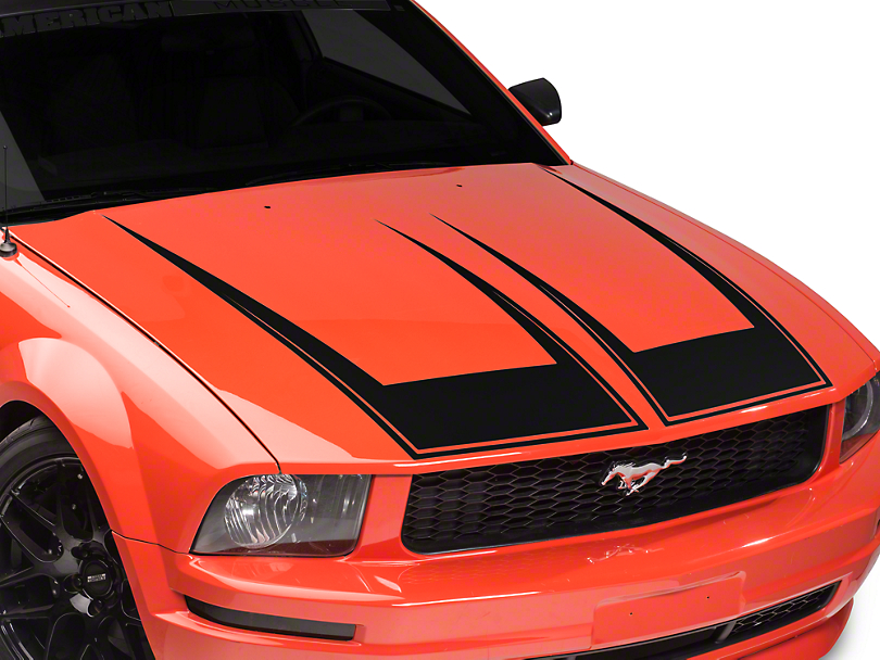 Mustang Pinstriped Hood Decal Matte Black 05 09 GT V6