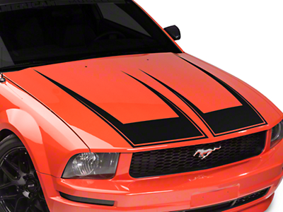 American Muscle Graphics Pinstriped Hood Decal - Matte Black (05-09 All)
