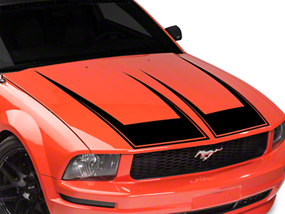 American Muscle Graphics Pinstriped Hood Decal - Black (05-09 All)
