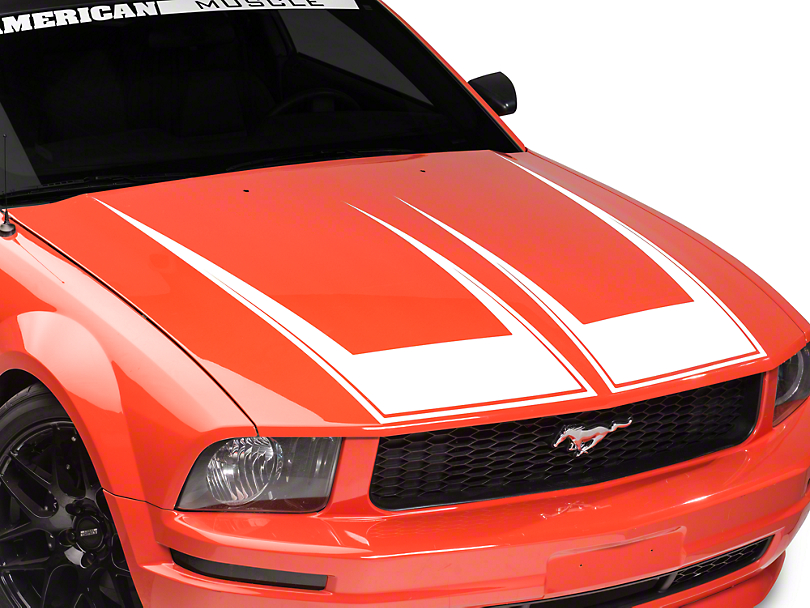 Pinstriped Hood Decal - White (05-09 GT, V6)