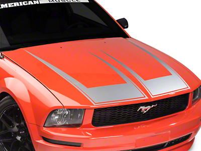 American Muscle Graphics Pinstriped Hood Decal - Silver (05-09 All)