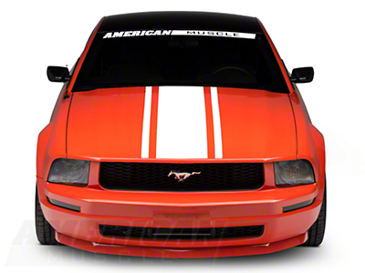 American Muscle Graphics Boss Style Hood Stripe - White (05-09 All)