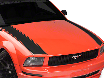 American Muscle Graphics Outer Hood Stripe - Matte Black (05-09 All)