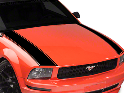 American Muscle Graphics Outer Hood Stripe - Black (05-09 All)