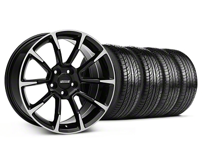 11/12 GT/CS Style Black Machined Wheel & Pirelli Tire Kit - 19x8.5 (05-14 All)