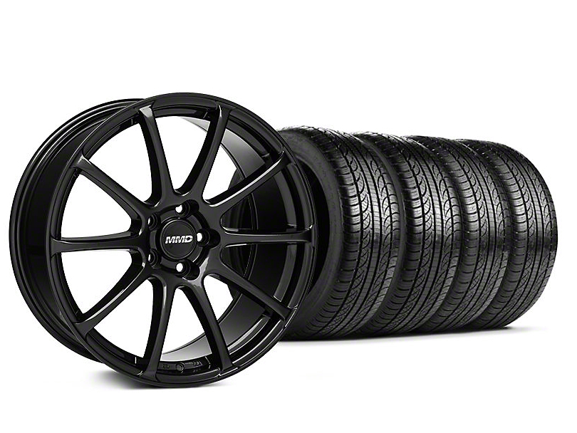 Staggered MMD Axim Gloss Black Wheel & Pirelli Tire Kit - 19x8.5/10 (05-14 All)