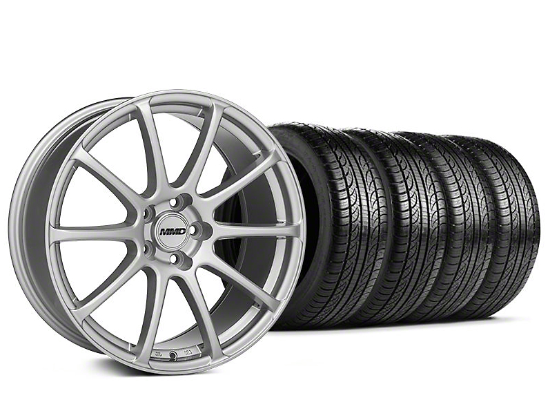 Staggered MMD Axim Silver Wheel & Pirelli Tire Kit - 19x8.5/10 (05-14 All)