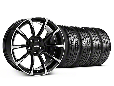 Staggered 11/12 GT/CS Style Black Machined Wheel & Pirelli Tire Kit - 19x8.5/10 (05-14 All)