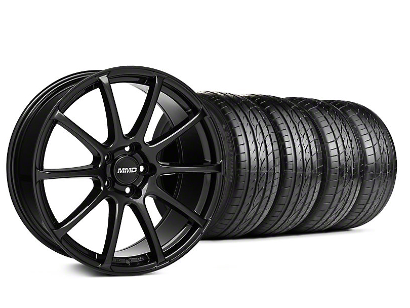 Staggered MMD Axim Gloss Black Wheel & Sumitomo Tire Kit - 19x8.5/10 (05-14 All)