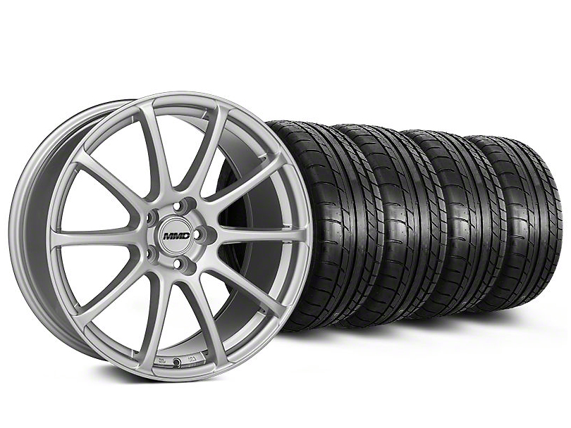 Staggered MMD Axim Silver Wheel & Mickey Thompson Tire Kit - 19x8.5/10 (05-14 All)