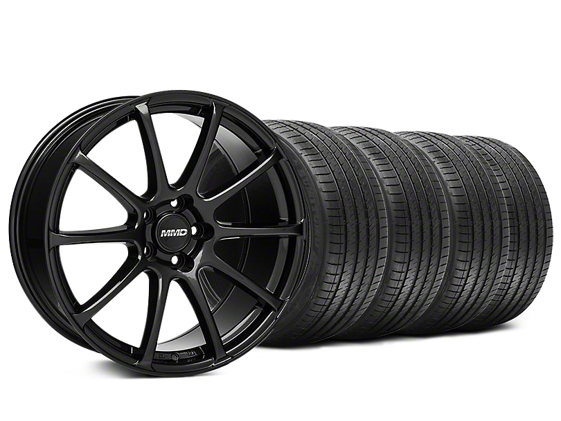 Staggered MMD Axim Gloss Black Wheel & Sumitomo Tire Kit - 20x8.5/10 (05-14 All)