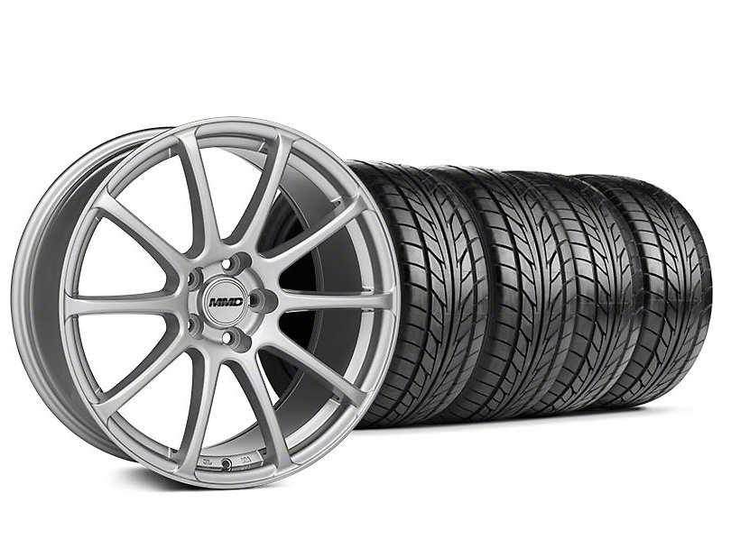 Staggered MMD Axim Silver Wheel & NITTO Tire Kit - 20x8.5/10 (05-14 All)