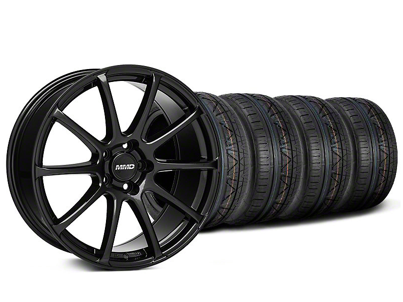 Staggered MMD Axim Gloss Black Wheel & NITTO INVO Tire Kit - 19x8.5/10 (05-14 All)