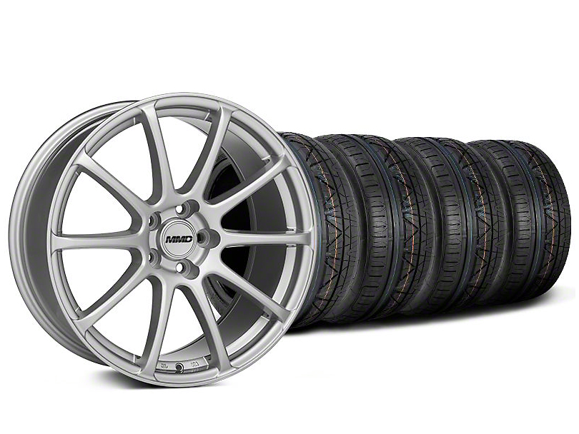 Staggered MMD Axim Silver Wheel & NITTO INVO Tire Kit - 19x8.5/10 (05-14 All)