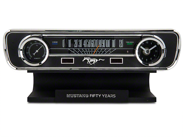Mustang 50th Anniversary Desk Clock and Thermometer with sound