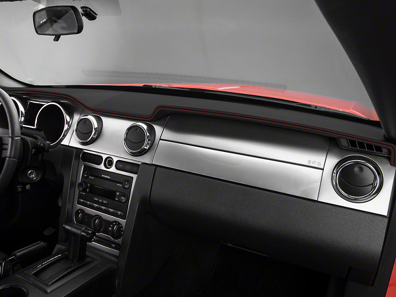 Mustang dash cover black w red stiching 05 09 all for 05 mustang door panel leather