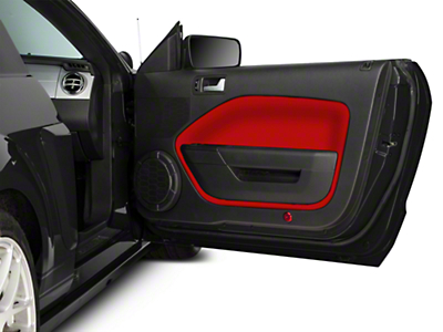 Mustang door insert covers red 05 09 all free shipping for 05 mustang door panels