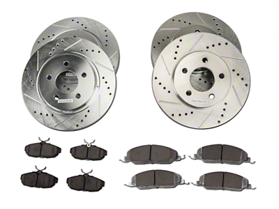 Power Stop Street Warrior Brake Rotor & Ceramic Pad Kit - Front & Rear (05-10 V6)