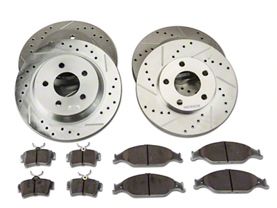 Power Stop Street Warrior Brake Rotor & Ceramic Pad Kit - Front & Rear (94-04 Bullitt, Mach 1, Cobra)