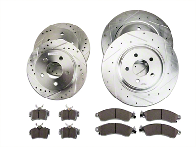 Power Stop Street Warrior Brake Rotor & Ceramic Pad Kit - Front & Rear (99-04 GT, V6)