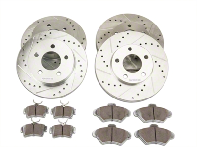 Power Stop Street Warrior Brake Rotor & Ceramic Pad Kit - Front & Rear (94-98 GT, V6)
