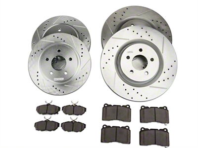Power Stop Street Warrior Brake Rotor & Ceramic Pad Kit - Front & Rear (11-14 GT Brembo, 12-13 BOSS, 07-12 GT500)
