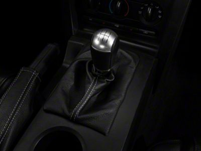 Add Premium Black Leather Shift Boot - Silver Stitch (For Manual Transmissions)