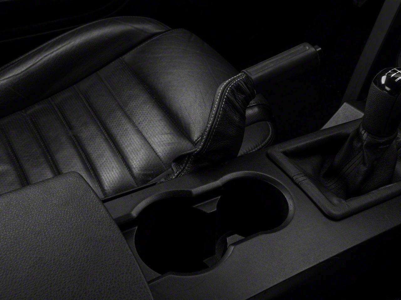 Add Premium Black Leather E-Brake Boot - Silver Stitch (05-09 All)