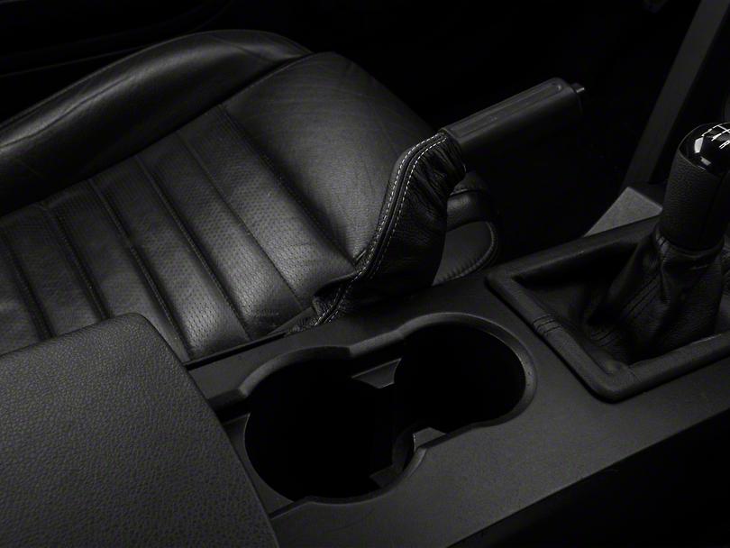 SpeedForm Premium Black Leather E-Brake Boot - Silver Stitch (05-09 All)