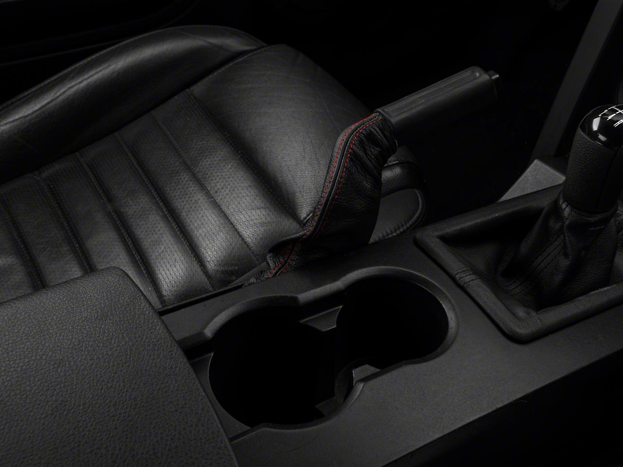 Premium Black Leather E-Brake Boot - Red Stitch (05-09 All)