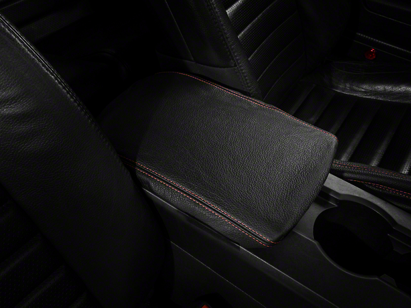 Premium Black Leather Arm Rest Cover - Red Stitch (05-09 All)