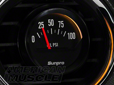 Sunpro Black Styleline Oil Pressure Gauge - Electric (79-14 All)