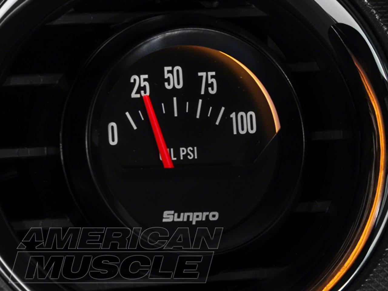 Sunpro Black Styleline Oil Pressure Gauge - Electric (79-14 All)
