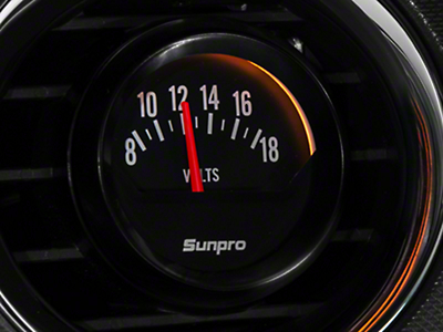 Sunpro Black Styleline Voltmeter Gauge - Electric (79-14 All)
