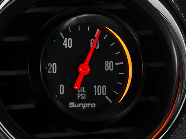 Sunpro Black Styleline Oil Pressure Gauge - Mechanical (79-14 All)